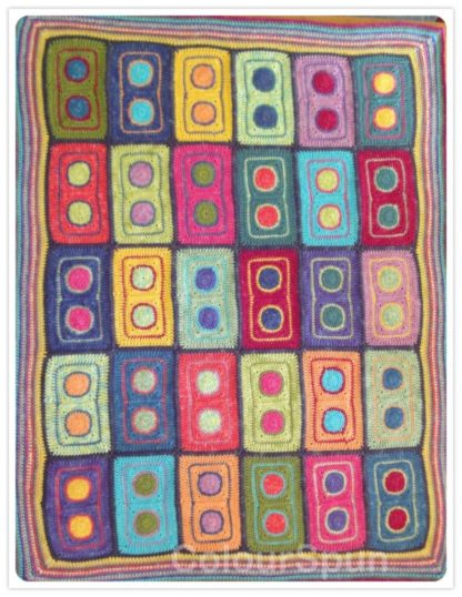 ColourSpun Gypsy Carnival Blanket Kit - a kit containing all the materials you need plus free instructions to crochet a blanket or knee rug in the Gypsy Carnival design. flat view.
