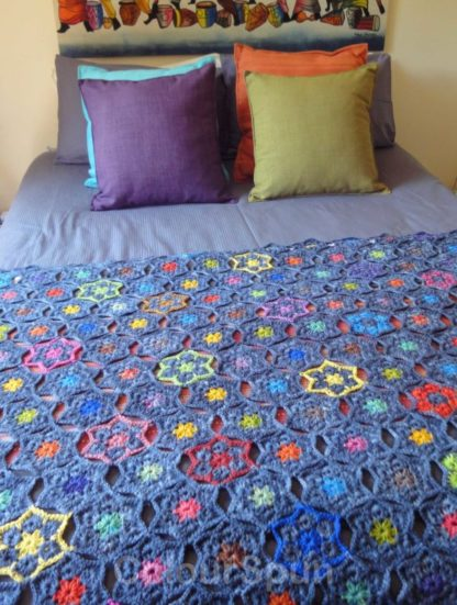 ColourSpun Starry Night Blanket Kit - a kit containing all the materials you need plus free instructions to crochet a blanket or knee rug in the Starry Night design.