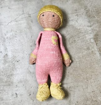 ColourSpun Bossy Boots knitted doll kit, this one is called Molly