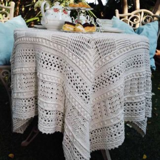 The Neave Collection's The Snow Drop crochet table cloth / throw
