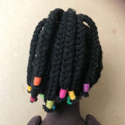 Braided wig kit for stitched dolls Back view