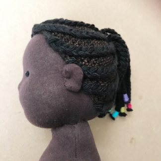 Braided wig kit for stitched dolls side view