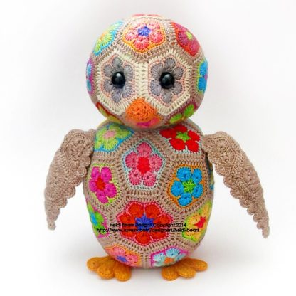 Aloysius the African Flower Owlet, crochet toy designed by Heidi Bears