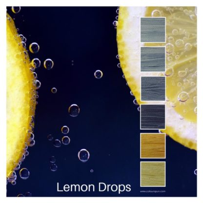 Lemon Drops is a Colour Stack of 6 colours inspired by cut lemons on a blue background