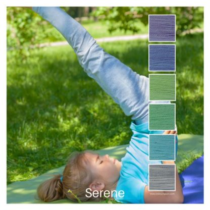 Serene is a Colour Stack of 6 colours inspired by a girl practicing yoga on a grassy spot under a tree