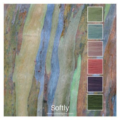 Softly is a Colour Stack of 6 colours inspired by the bark of a Eucalyptus tree