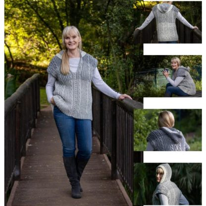 Lady D Vest with Hood is a unisex crochet vest with cables