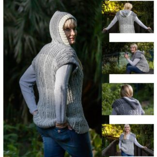 Lady D Vest with Hood is a crochet sleeveless pullover with cables.